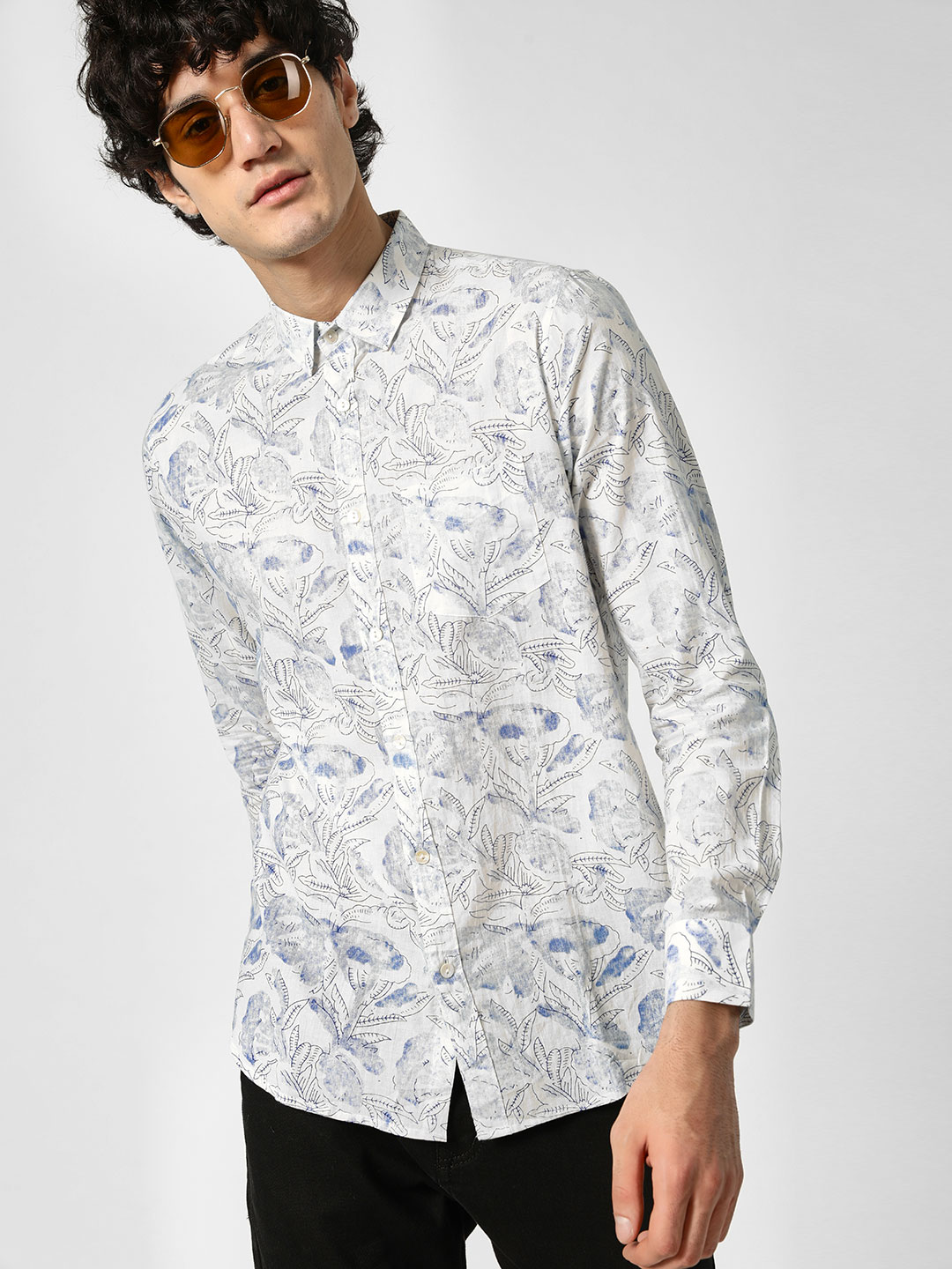 Cult Fiction White Floral Block Print Shirt 1