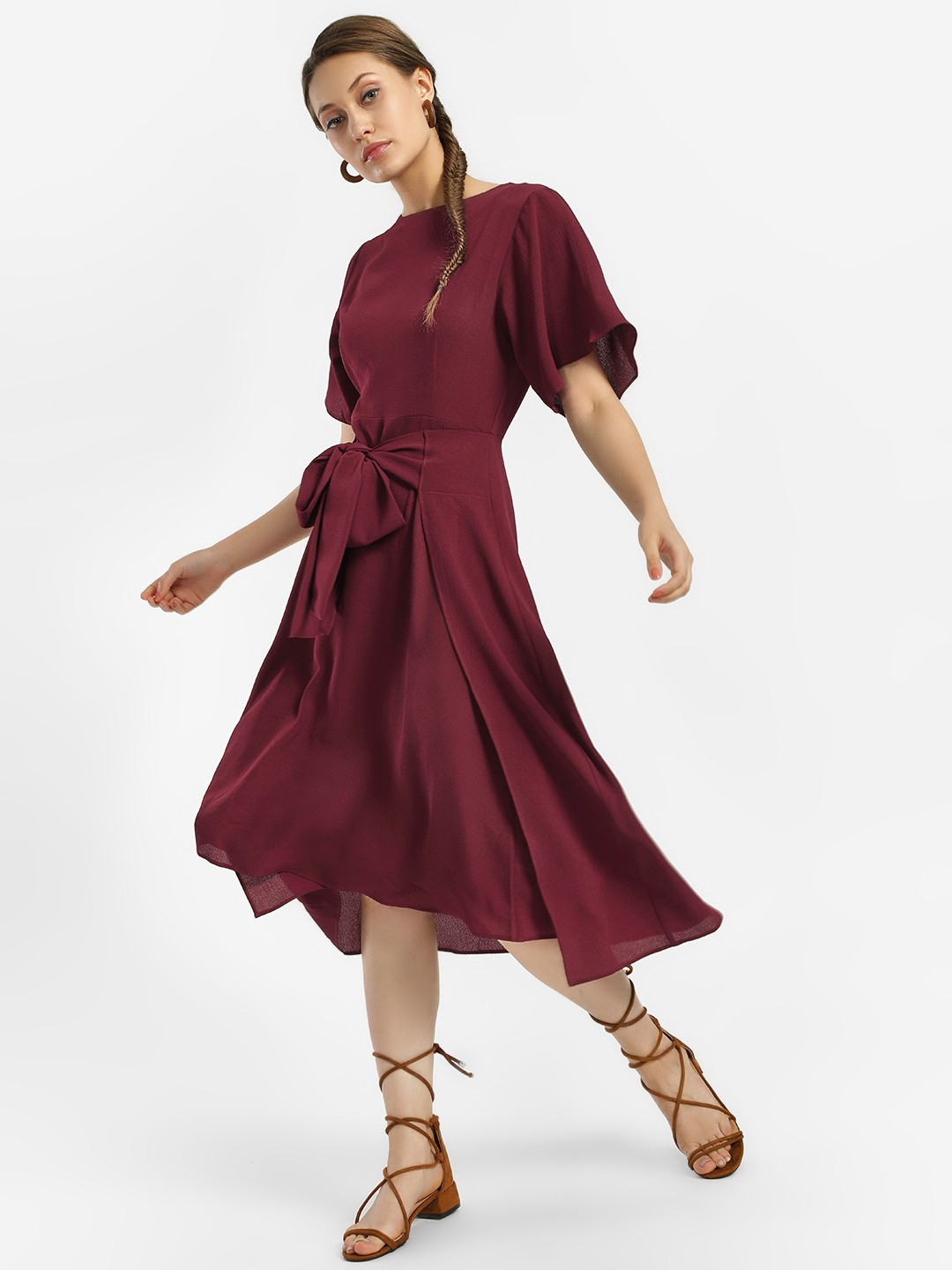 KOOVS Maroon Tie-Up Midi Dress 1