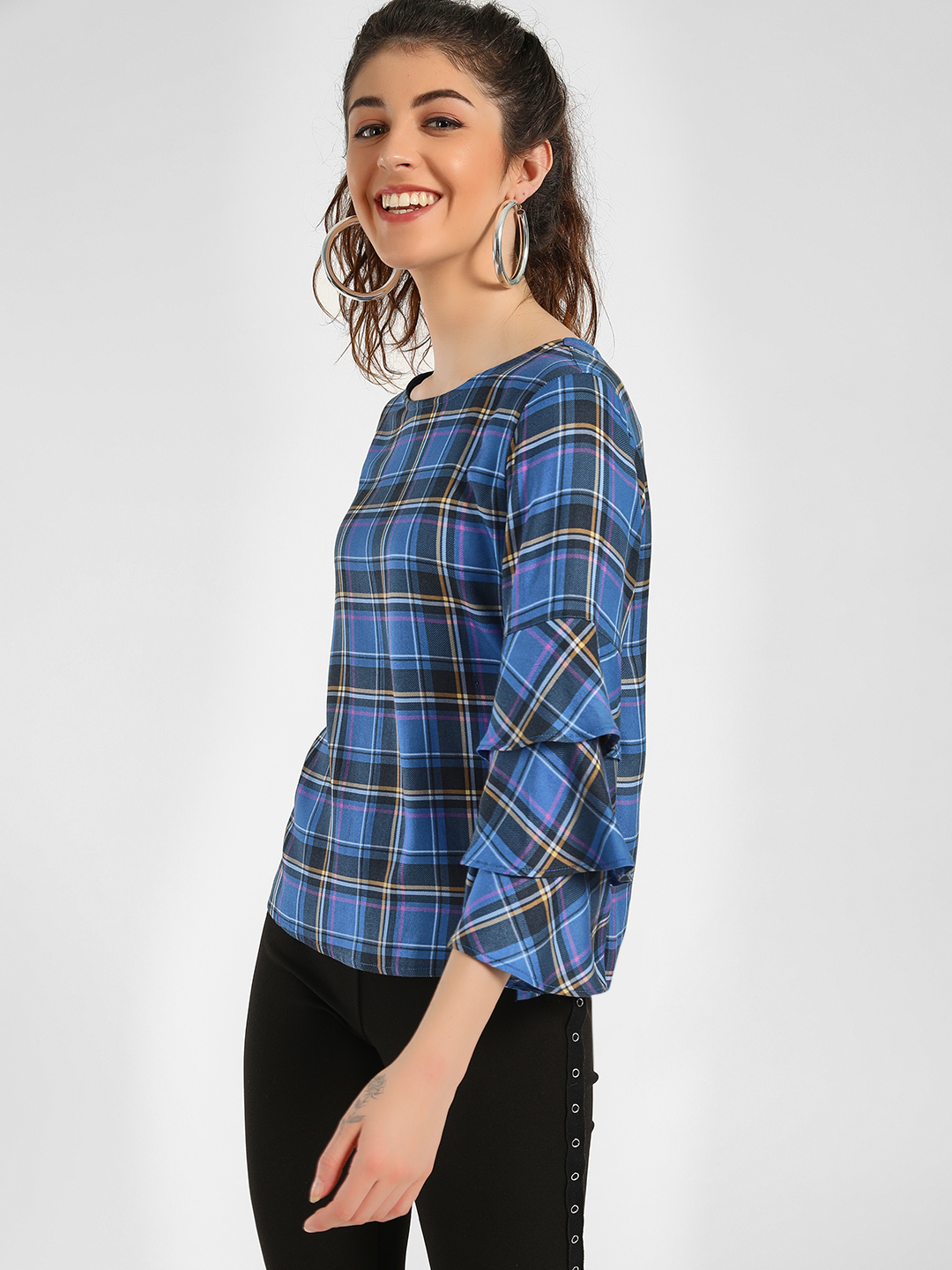 KOOVS Multi Multi-Check Tier Sleeve Blouse 1