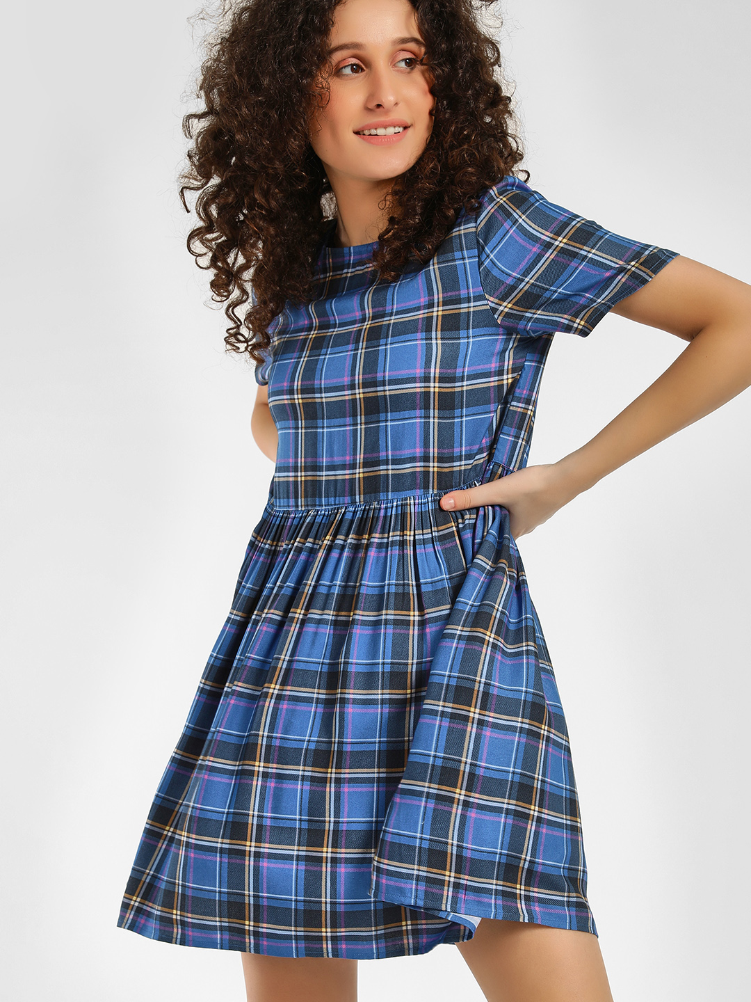 KOOVS Multi Multi-Check Skater Dress 1