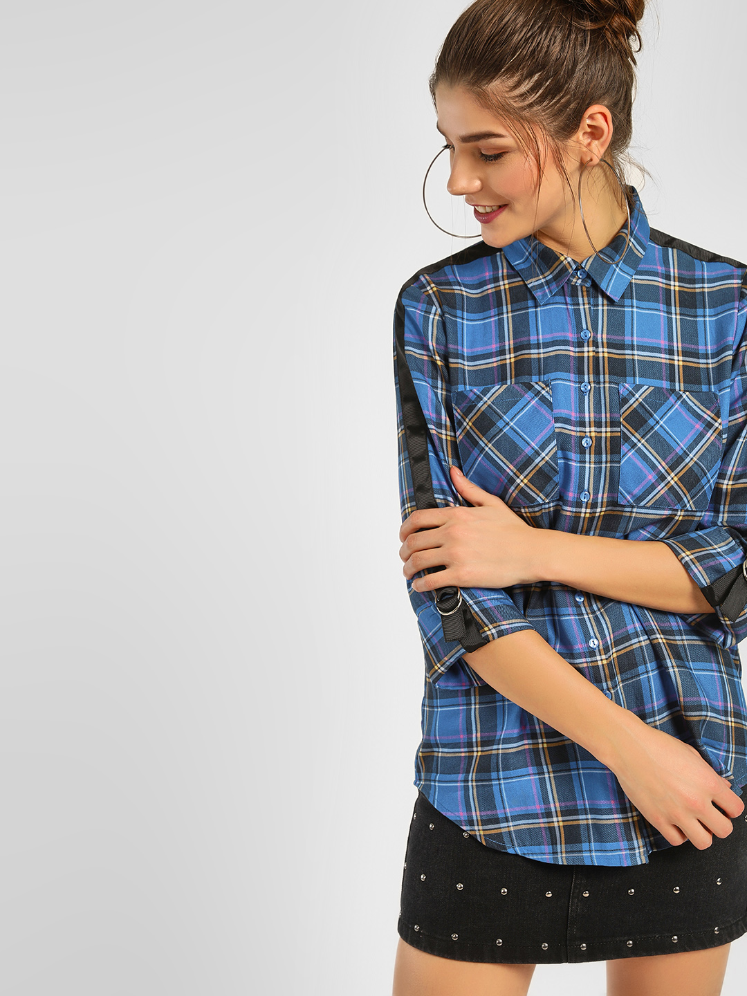 KOOVS Multi Contrast Tape Check Shirt 1