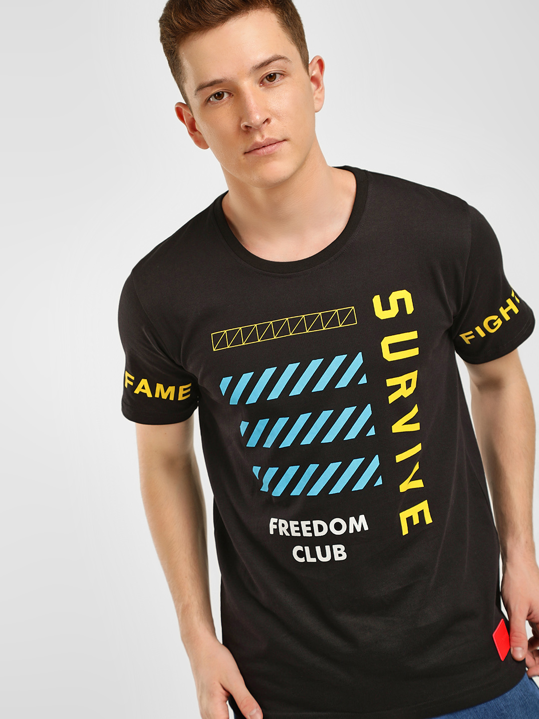 Fighting Fame Black Slogan Print T-Shirt 1