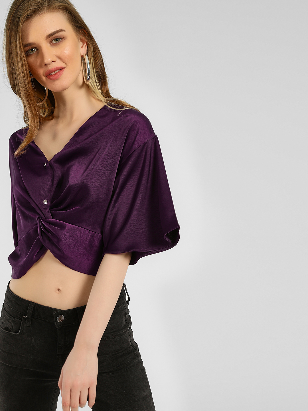 KOOVS Purple Front Twist Crop Top 1