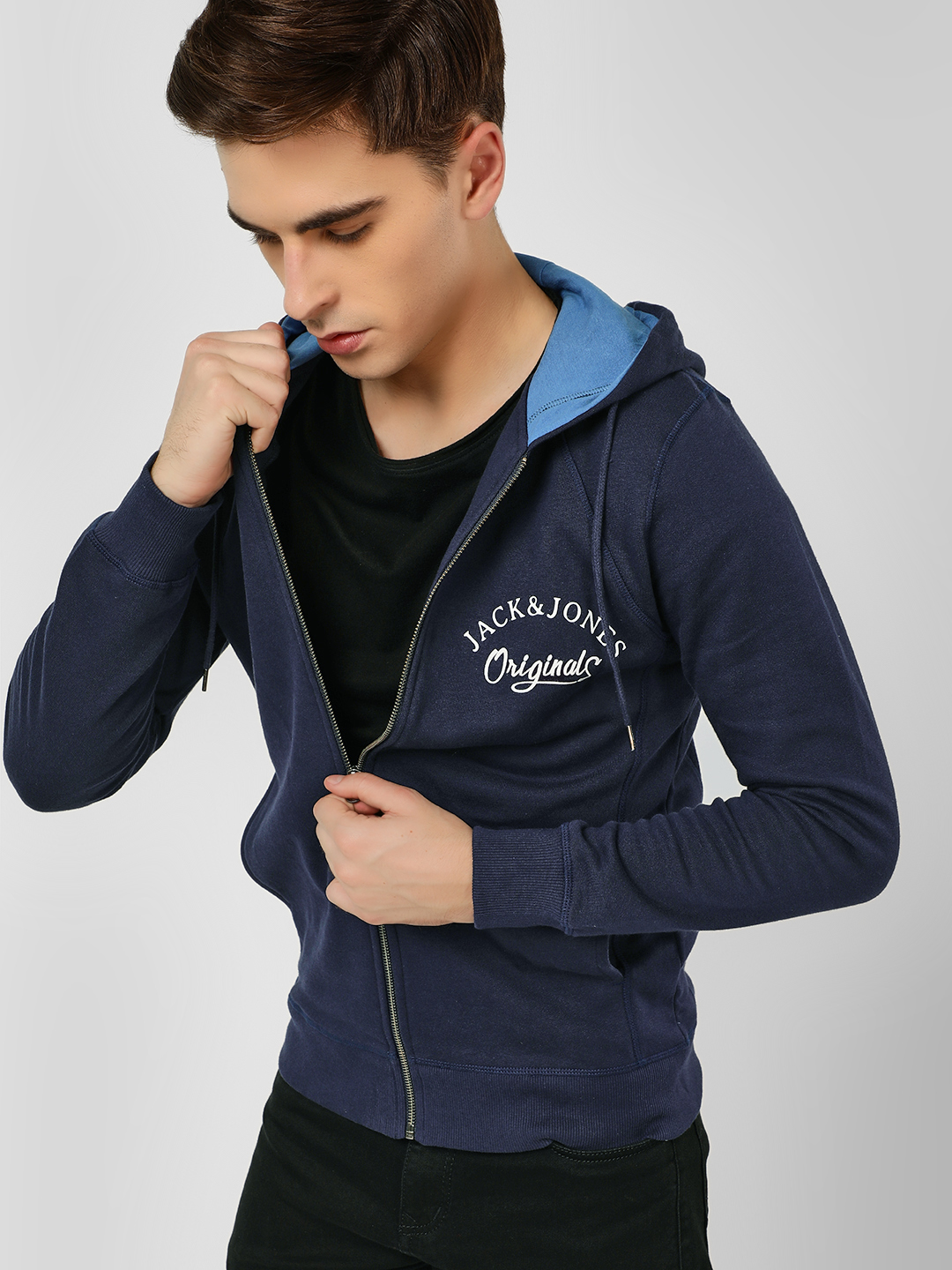 Jack & Jones Blue Zipper Hooded Sweatshirt 1