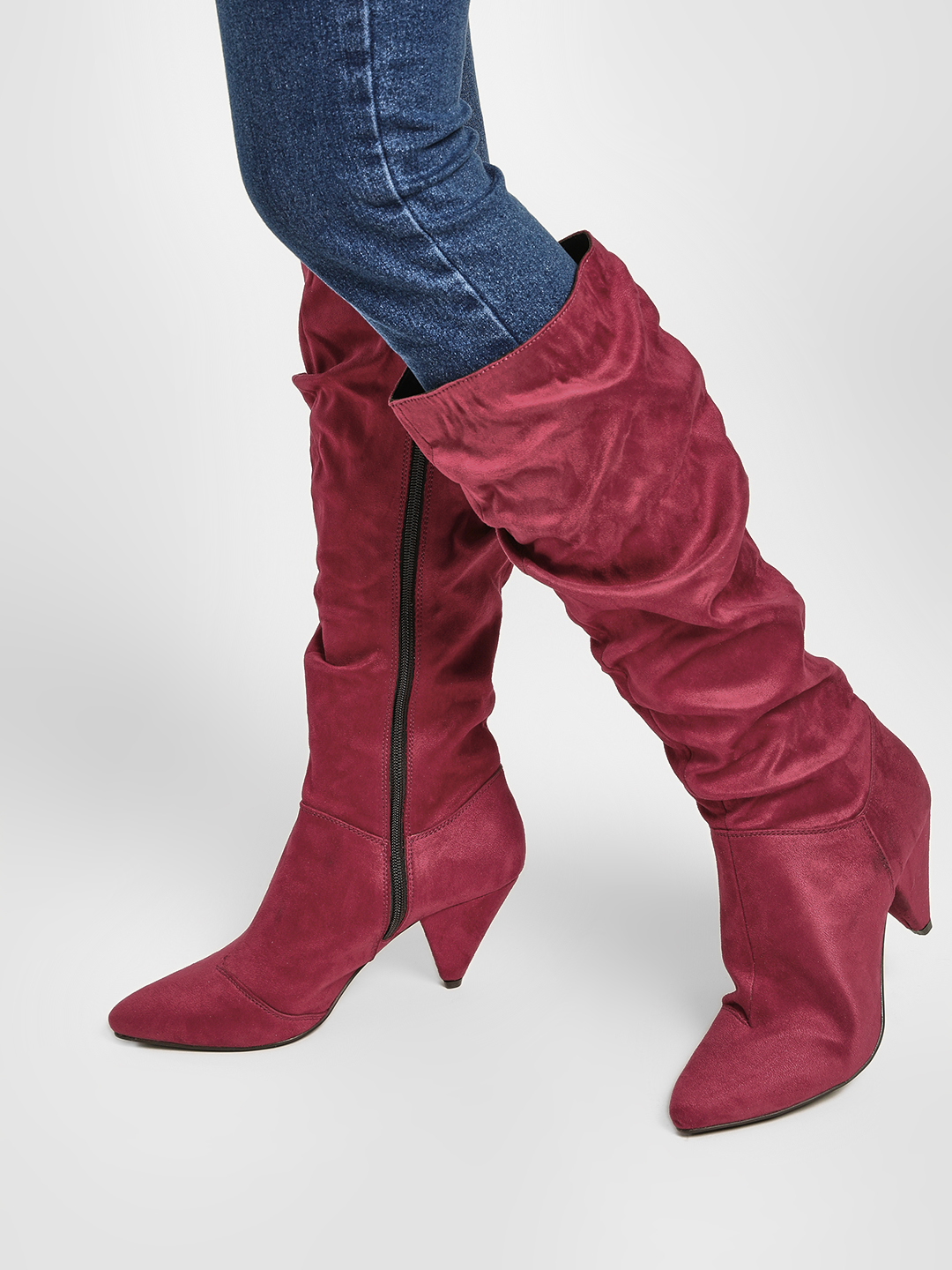 KOOVS Burgundy Knee Length Slouch Boots 1