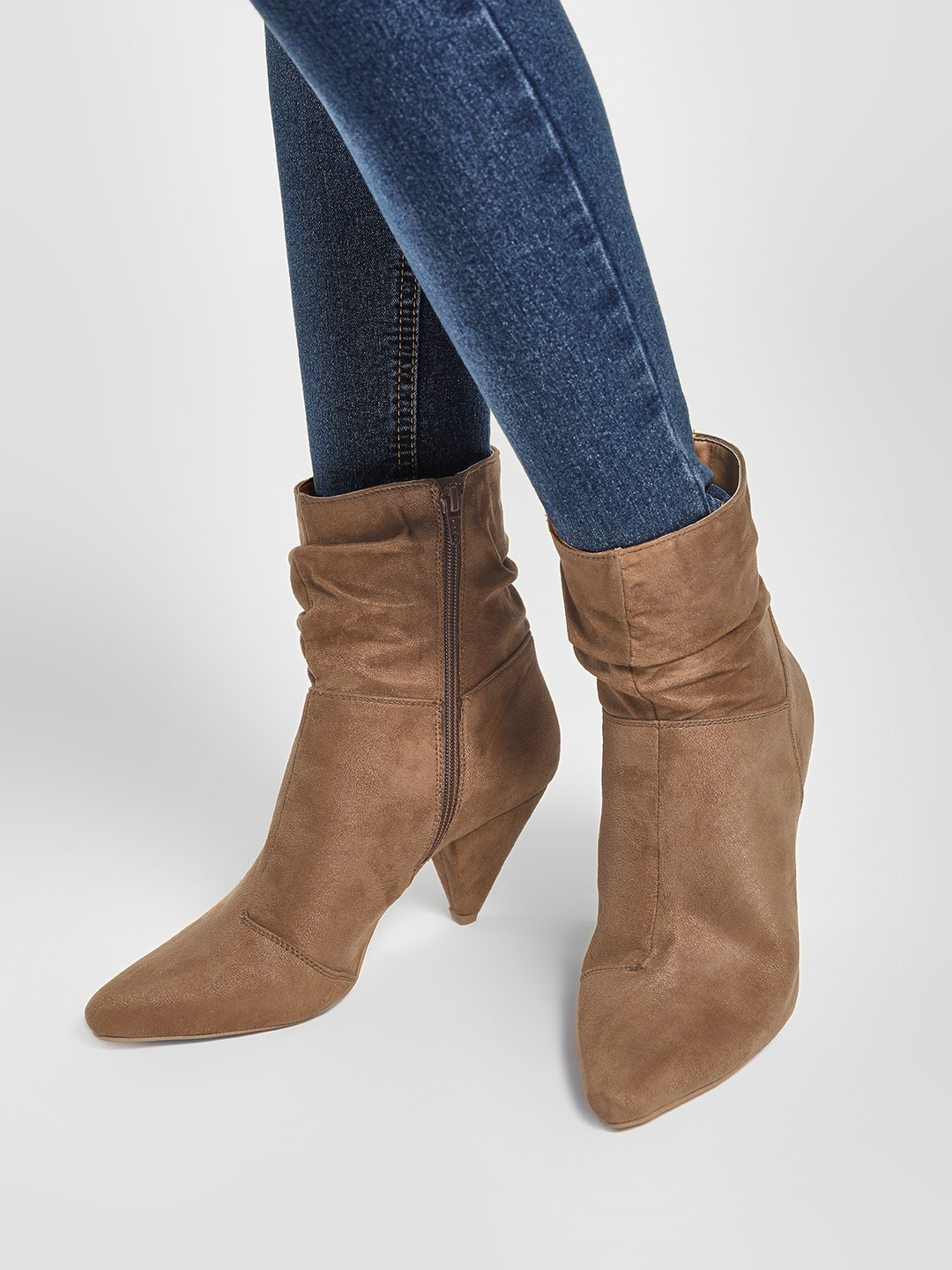 KOOVS Tan Conical Heel Ankle Boots 1