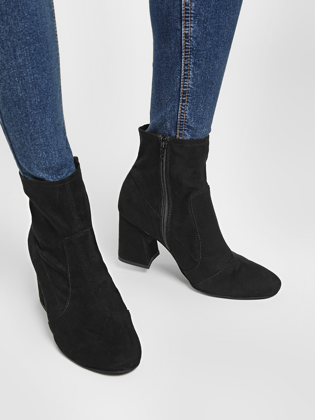 KOOVS Black Flared Block Heel Boots 1