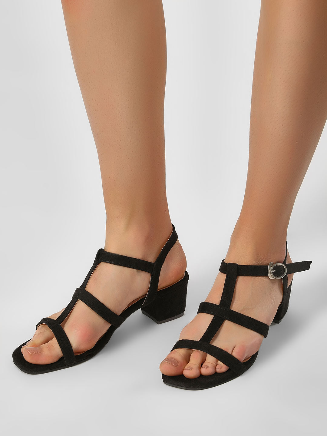 My Foot Couture Black Two Straps Ankle Sandals 1