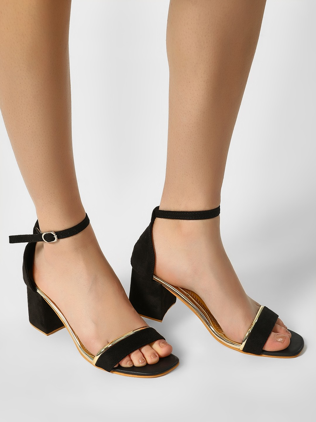 My Foot Couture Black Ankle Strap Block Heeled Sandals 1