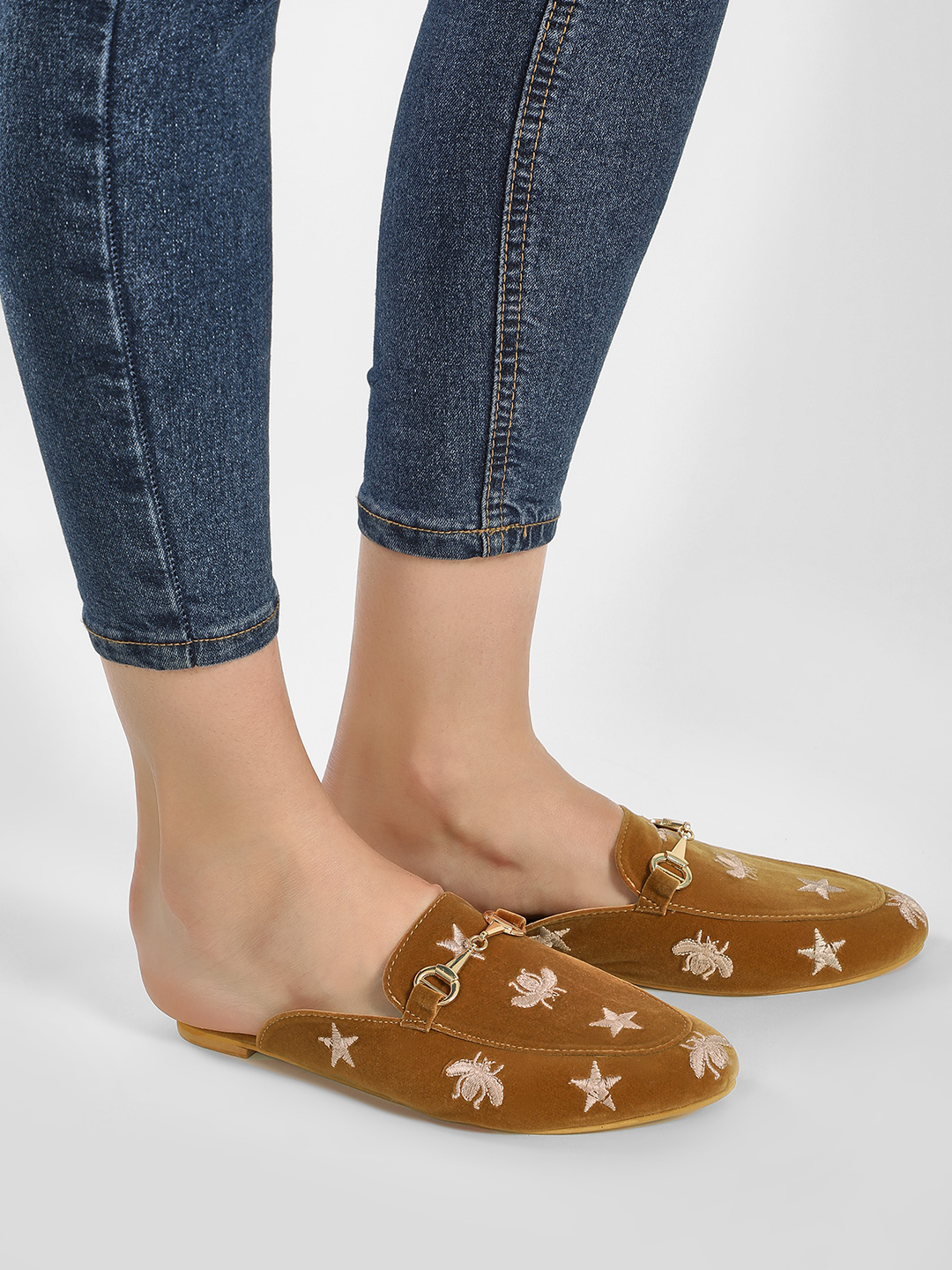 Sole Story Tan Embroidered Suede Horsebit Mules 1