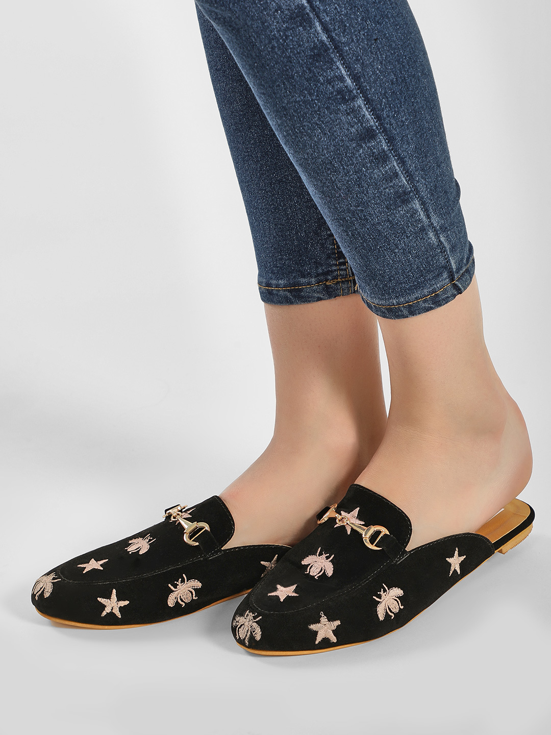 Sole Story Black Embroidered Suede Horsebit Mules 1