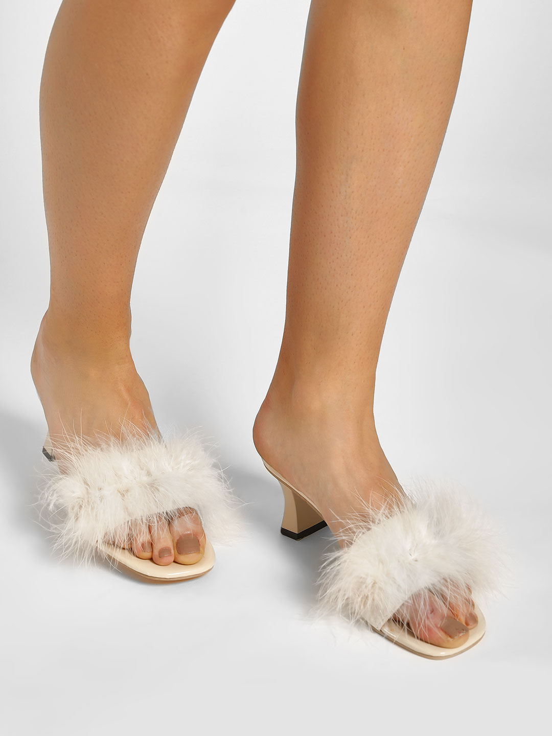 My Foot Couture Cream Fur Broad Strap Heeled Sandals 1