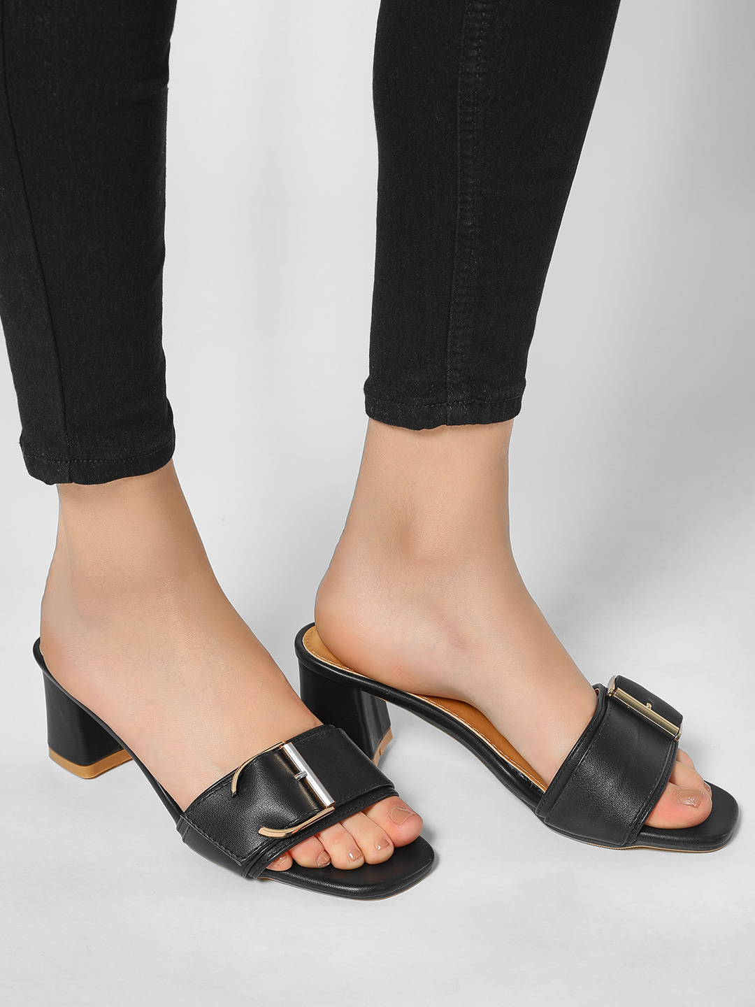 My Foot Couture Black Broad Buckle Heeled Sandals 1