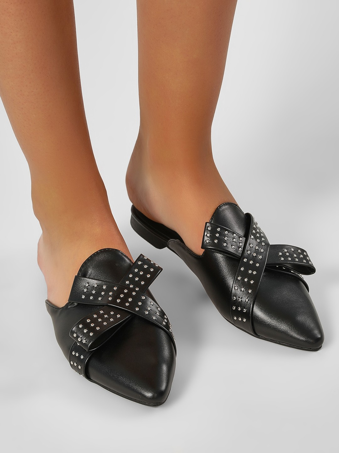 My Foot Couture Black Stud Bow Detail Flat Mules 1