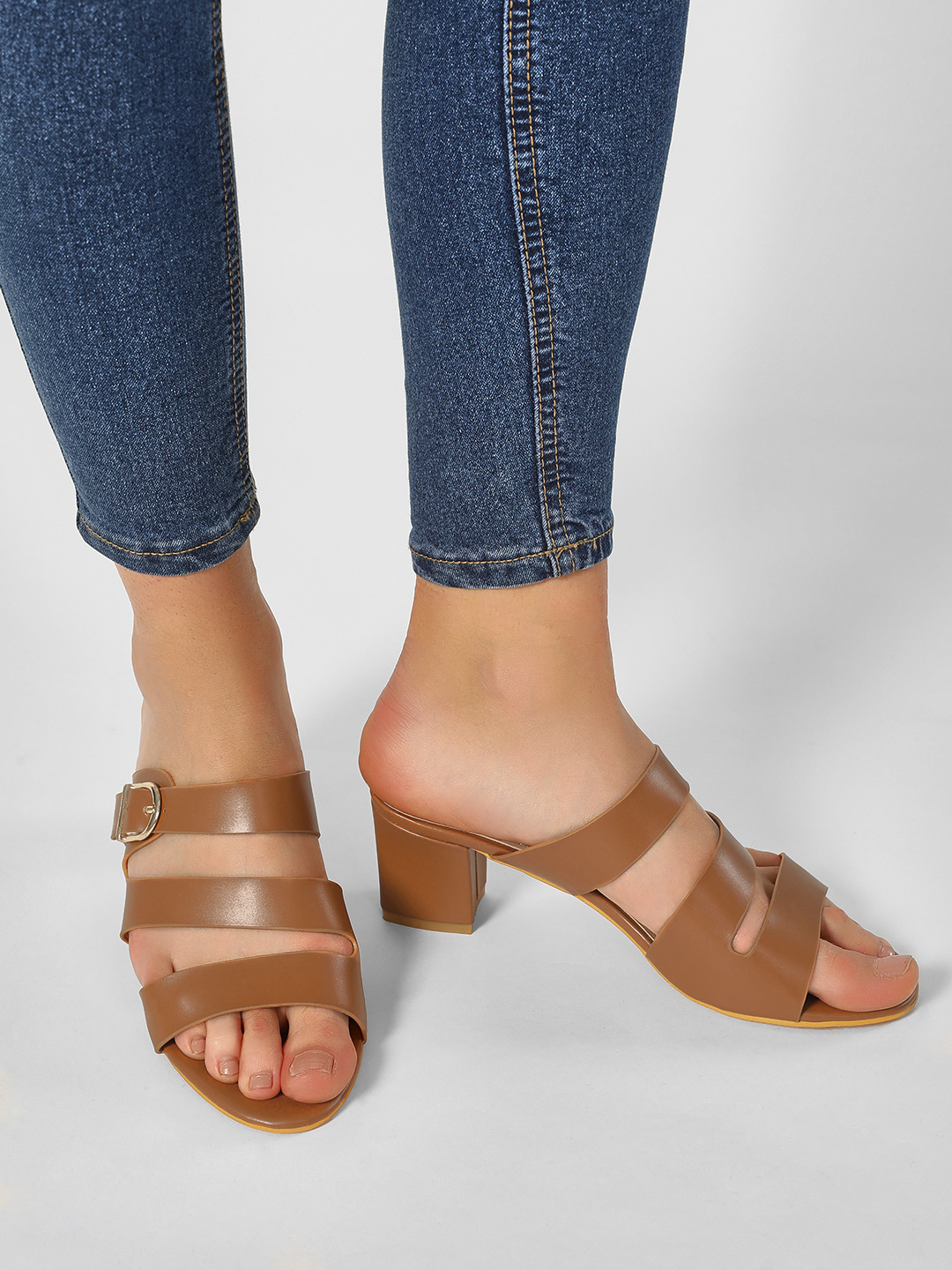 My Foot Couture Tan Multi-Strap Block Heeled Sandals 1