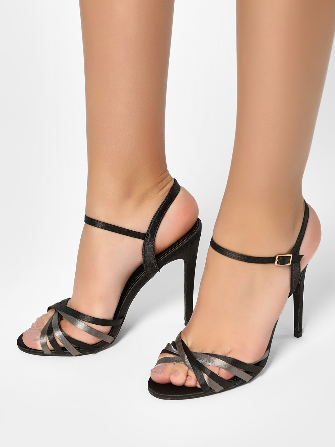 My Foot Couture Black Two-Tone Strap Heeled Sandals 1