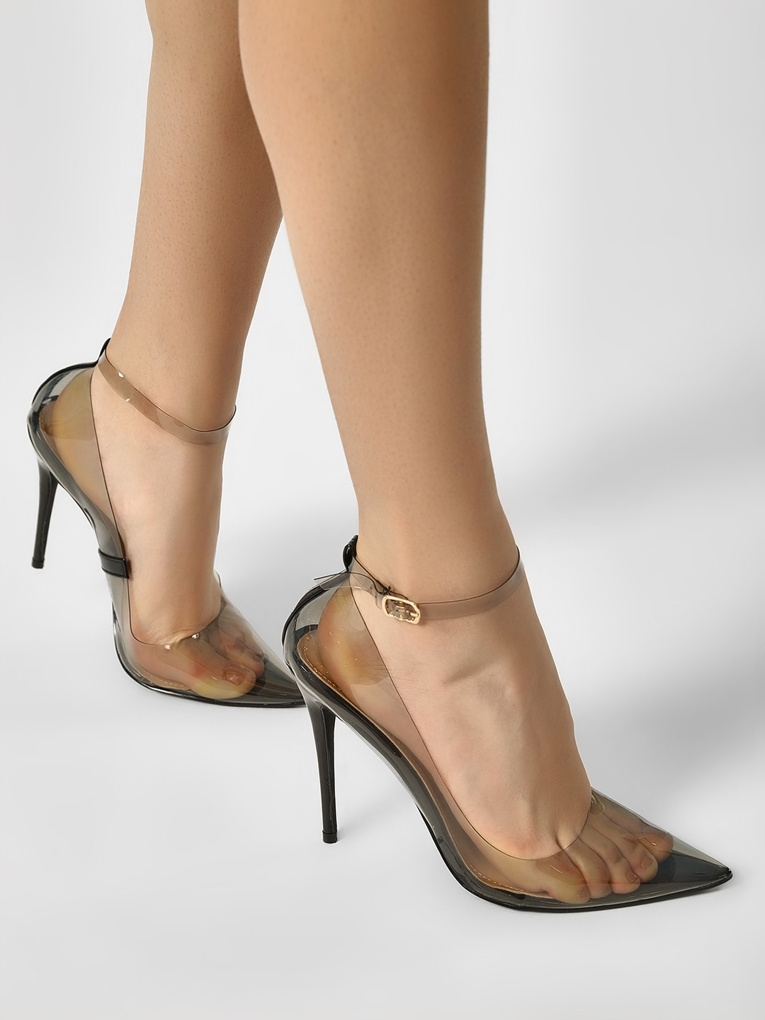 My Foot Couture Black Transparent Ankle Strap Heeled Pumps 1
