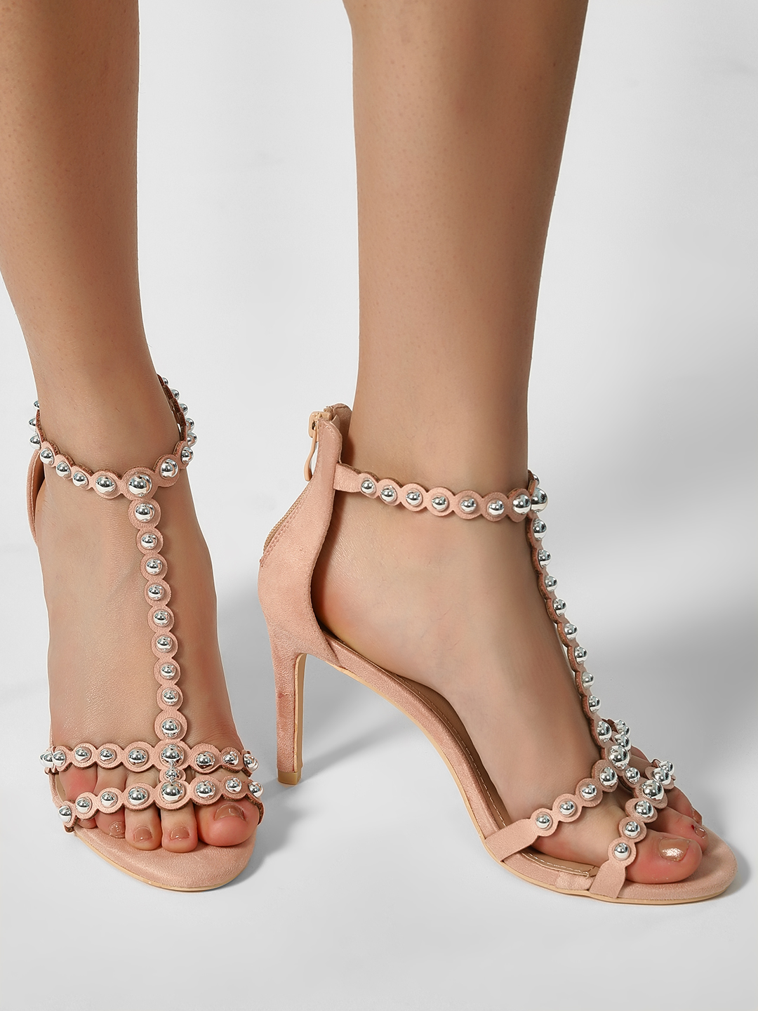 My Foot Couture Pink Suede Studded T-Strap Heeled Sandals 1