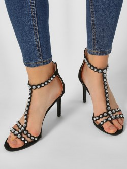 My Foot Couture Suede Studded T-Strap Heeled Sandals