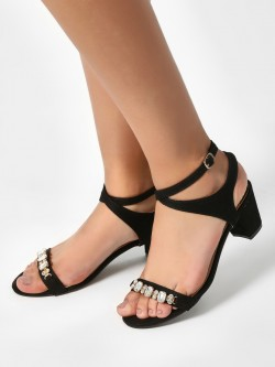 My Foot Couture Gem Embellished Block Heeled Sandals