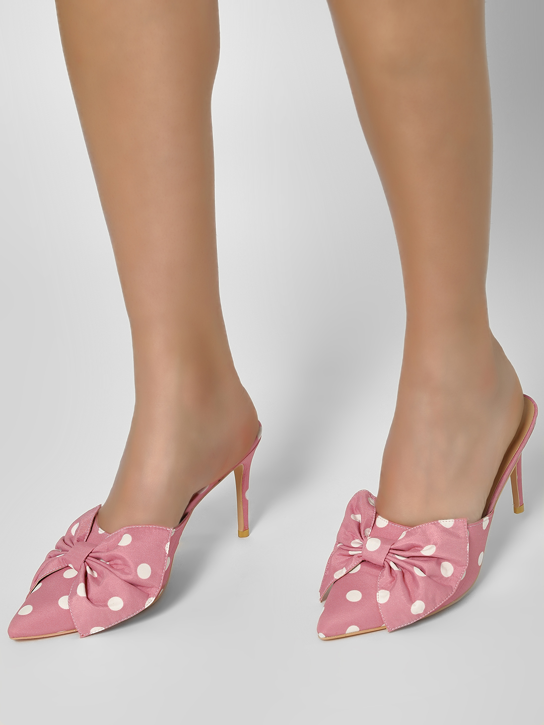 My Foot Couture Pink Polka Dot Heeled Sandals 1