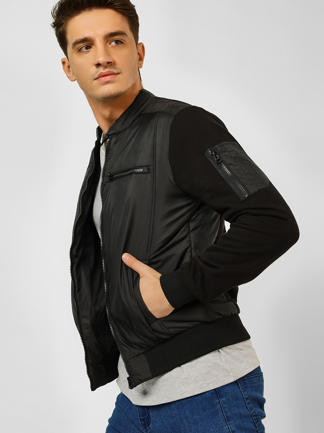 Flying Machine Black Quilted Panel Lightweight Jacket 1