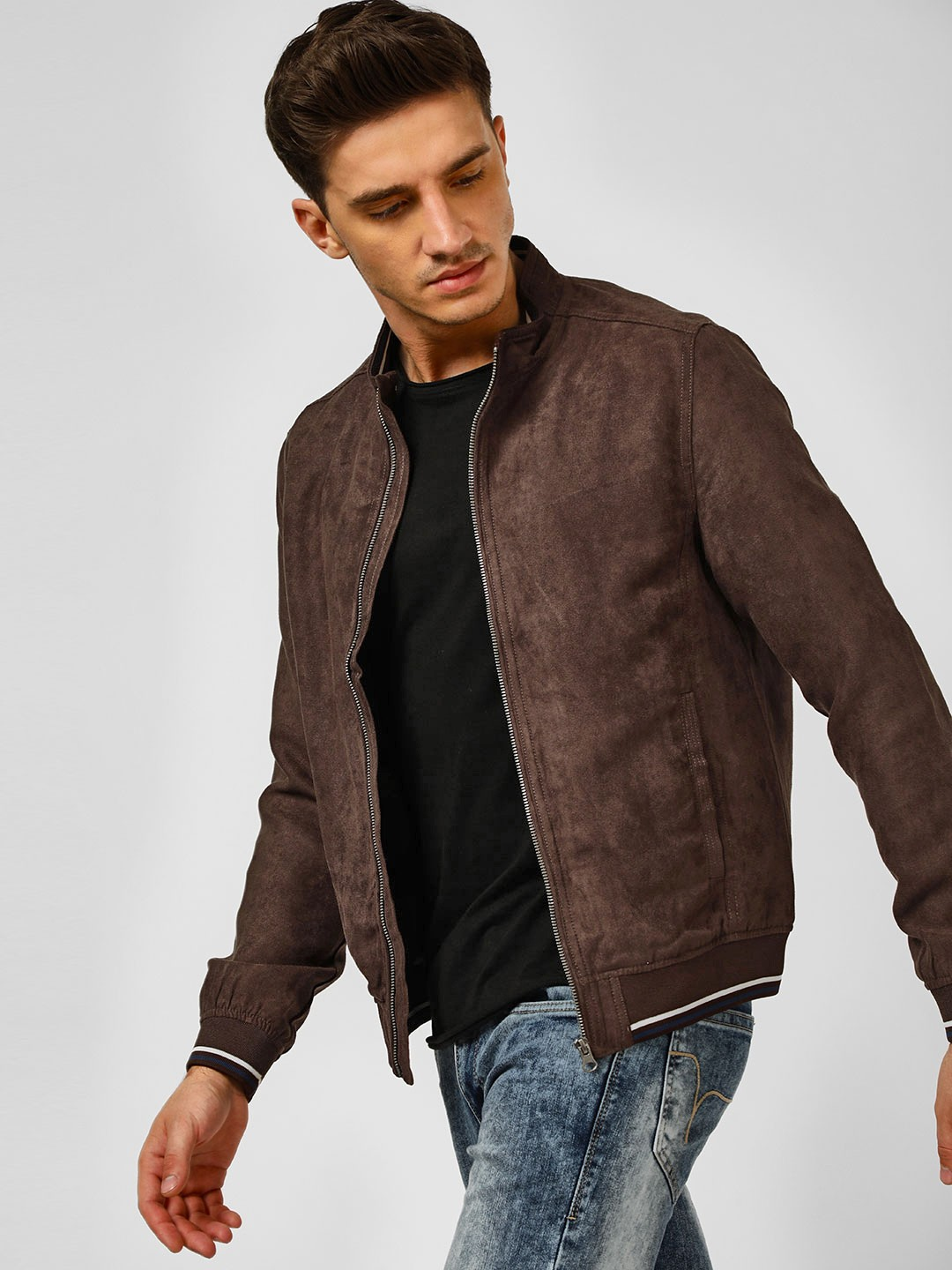 Flying Machine Maroon Suede Finish Bomber Jacket 1