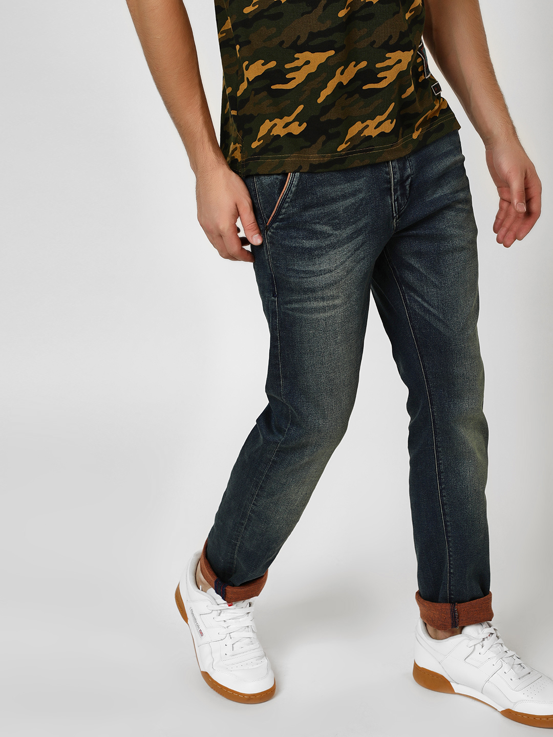 Flying Machine Blue Mid Rise Slim Jeans 1
