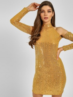 KOOVS Cold Shoulder Sequin Dress