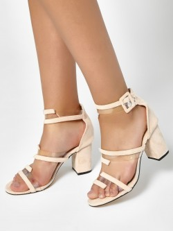 My Foot Couture Transparent Strap Suede Heeled Sandals