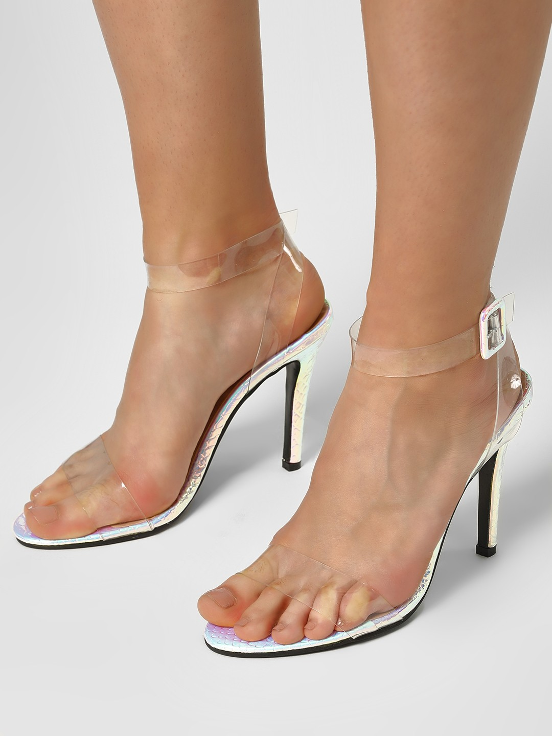My Foot Couture White Transparent Strap Holographic Heeled Sandals 1