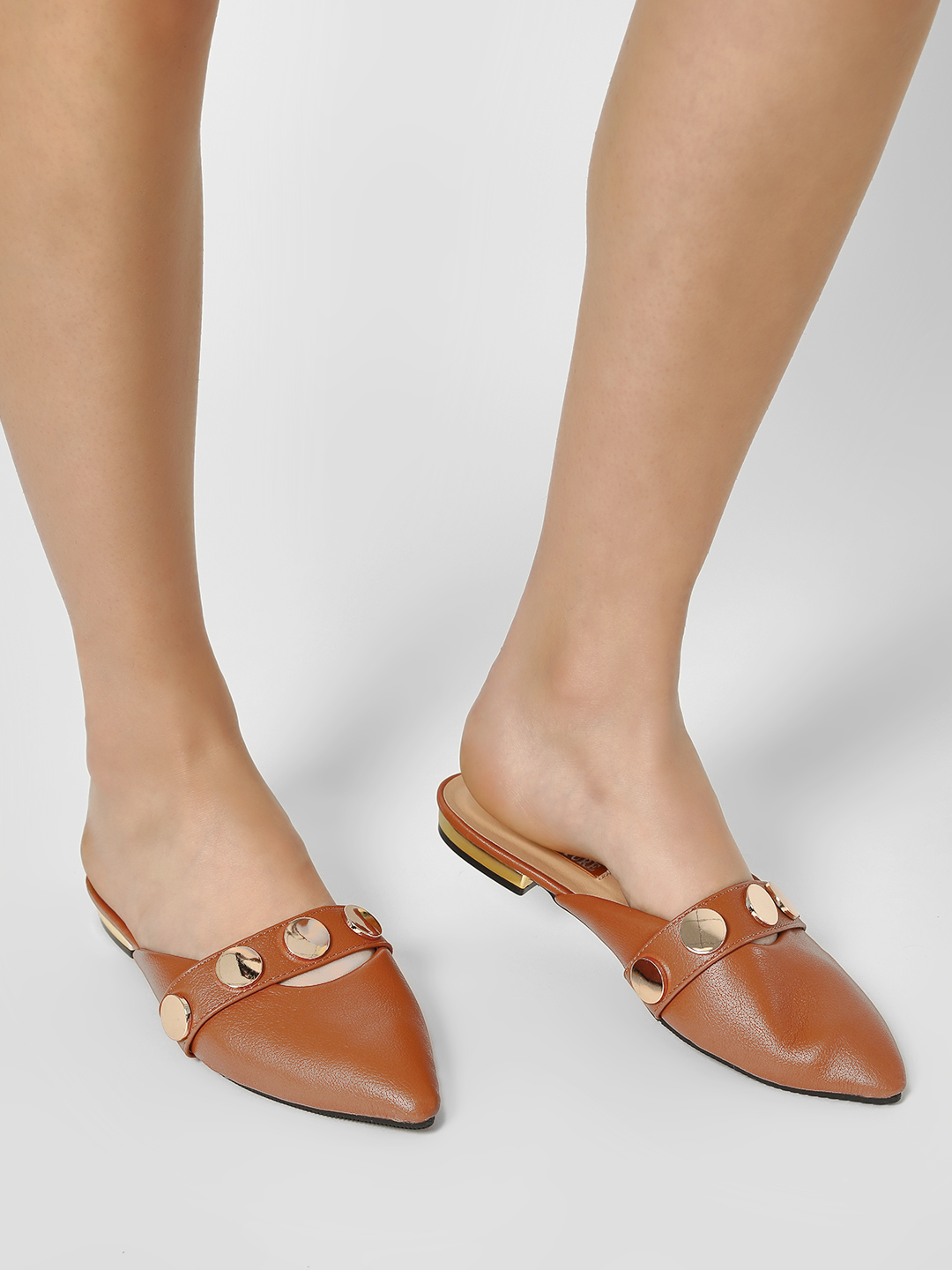 My Foot Couture Brown Coin Studded Pointed Mules 1