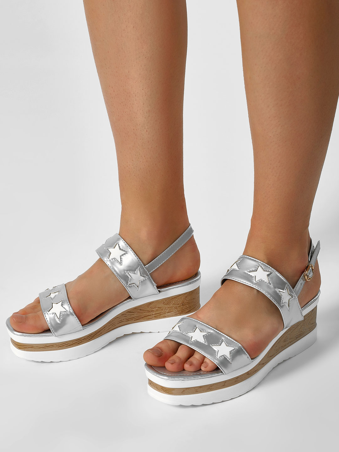 My Foot Couture Silver Star Motif Glossy Wedge Sandals 1