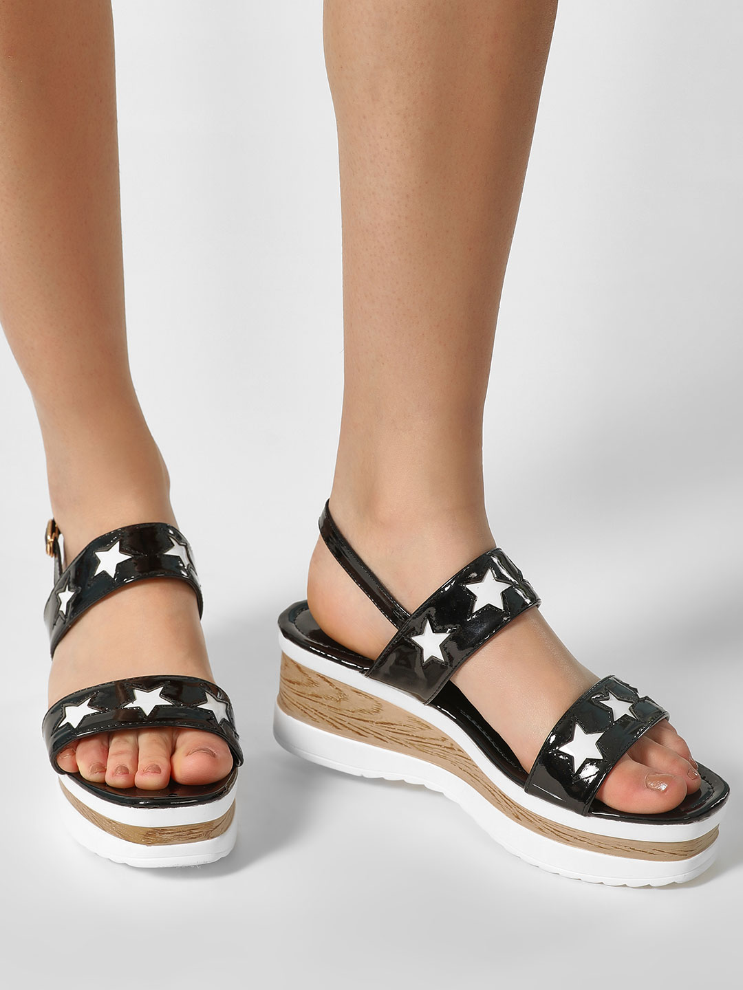 My Foot Couture Black Star Motif Glossy Wedge Sandals 1