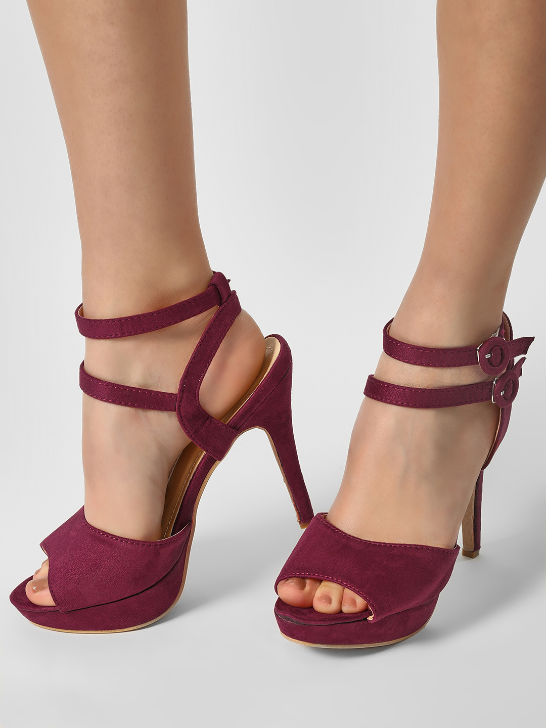 My Foot Couture Maroon Broad Strap Suede Heeled Pumps 1