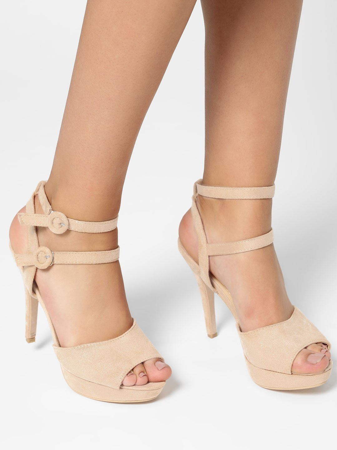 My Foot Couture Beige Broad Strap Suede Heeled Pumps 1