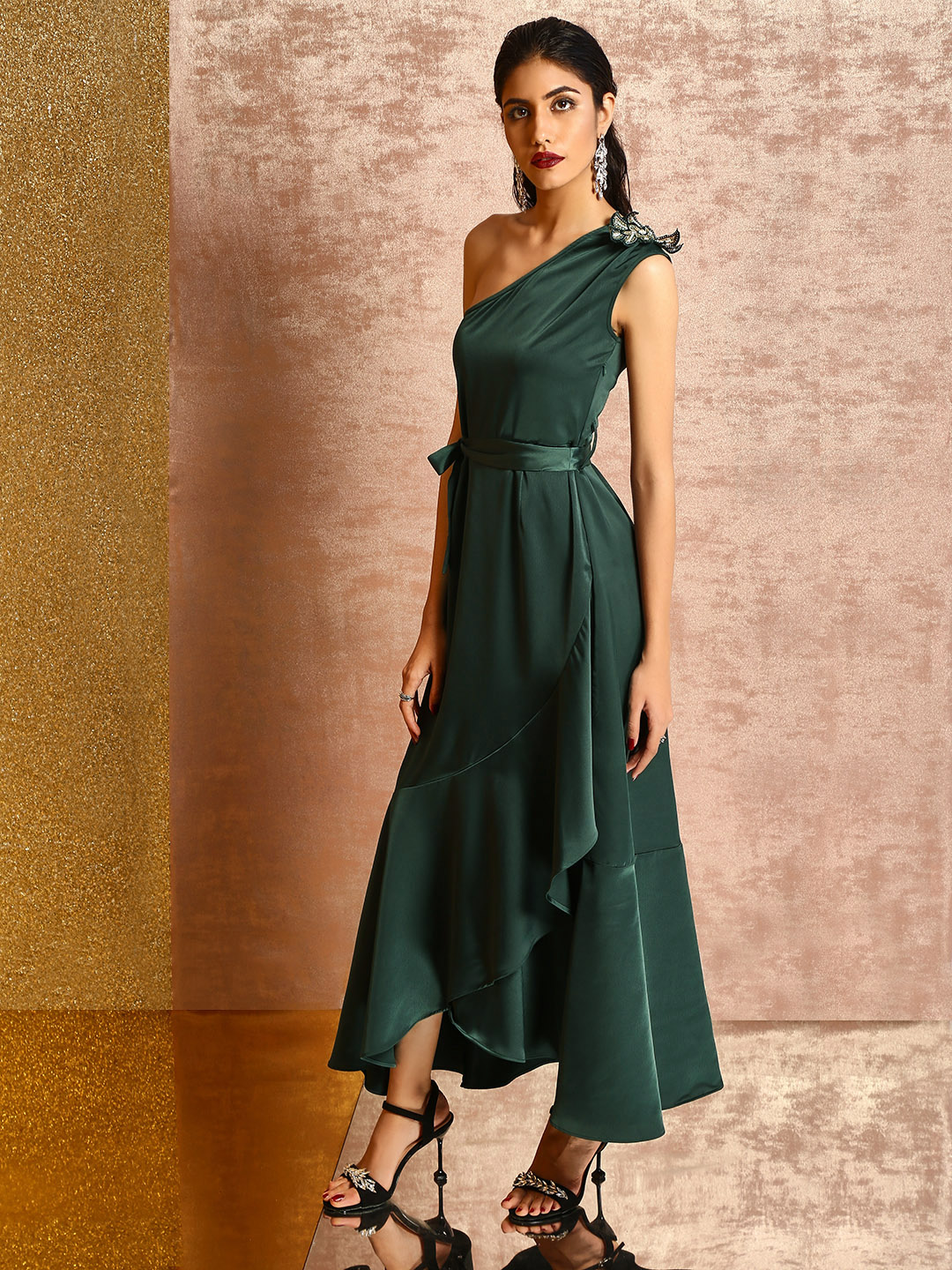 KOOVS Dark Green One Shoulder Maxi Dress 1