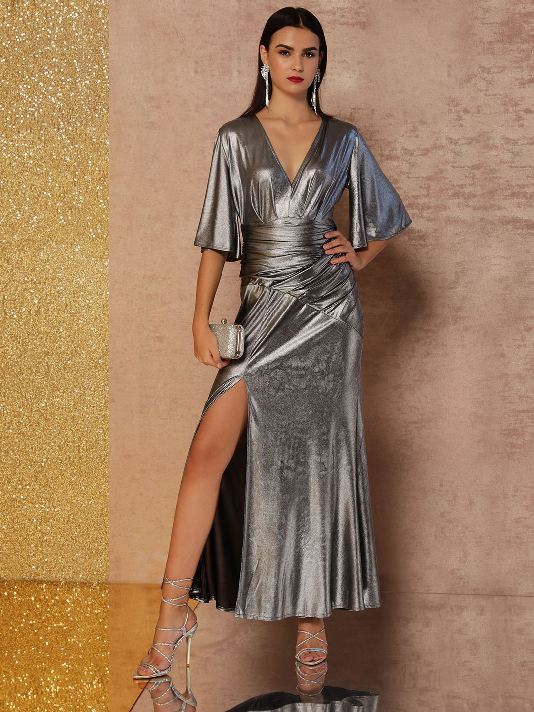 KOOVS Silver Ruched Belt Maxi Gown 1