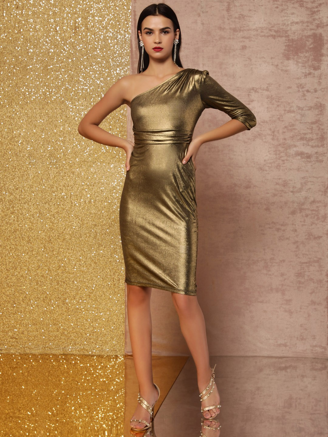 KOOVS Gold One Shoulder Bodycon Dress 1