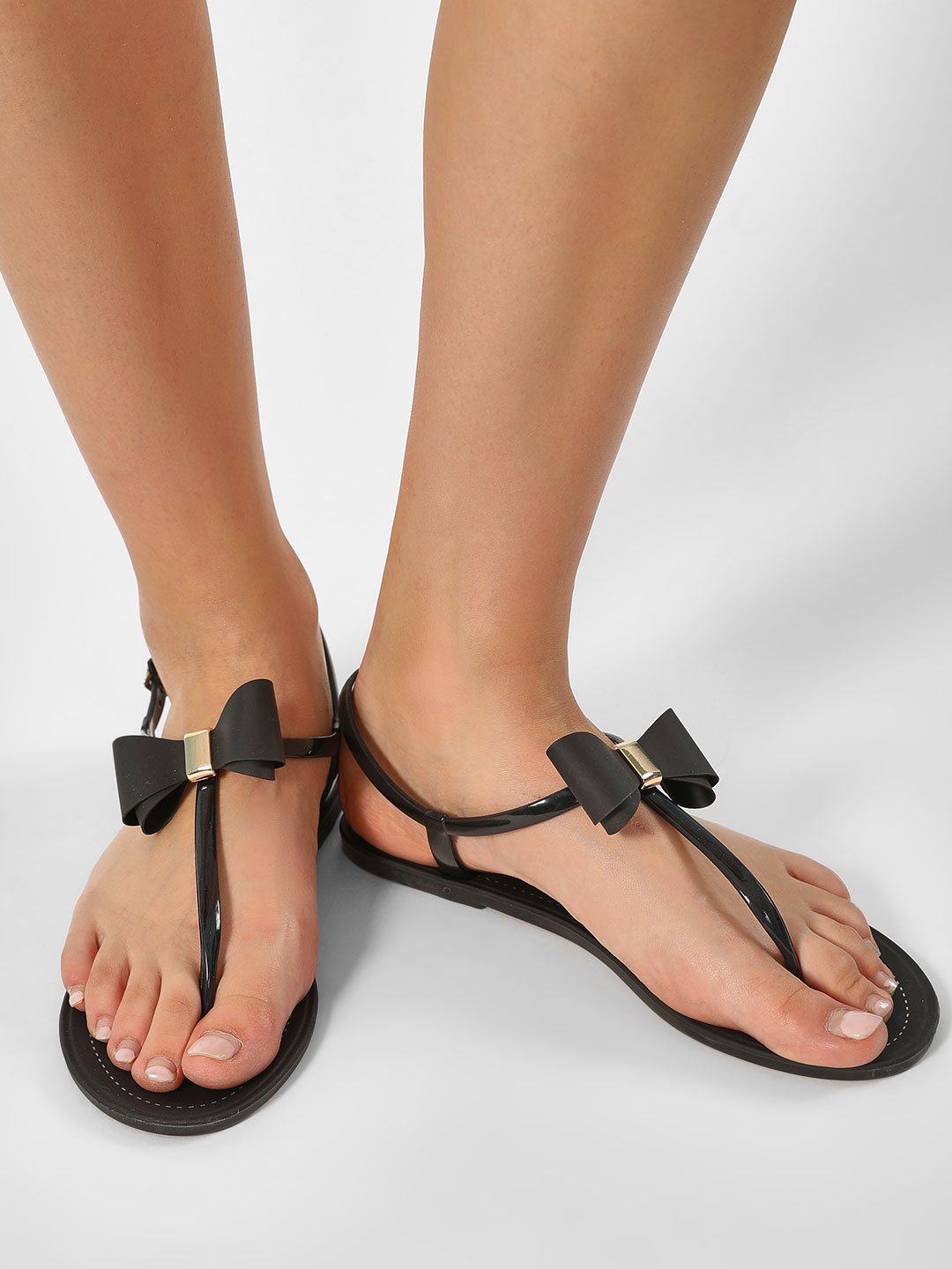 My Foot Couture Black Bow Detail T-Strap Flats 1