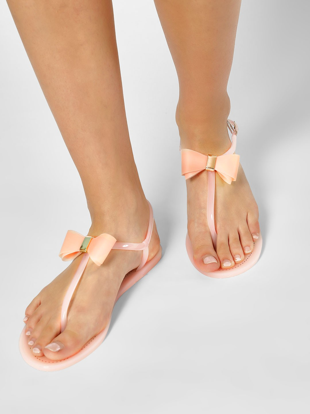 My Foot Couture Pink Bow Detail T-Strap Flats 1