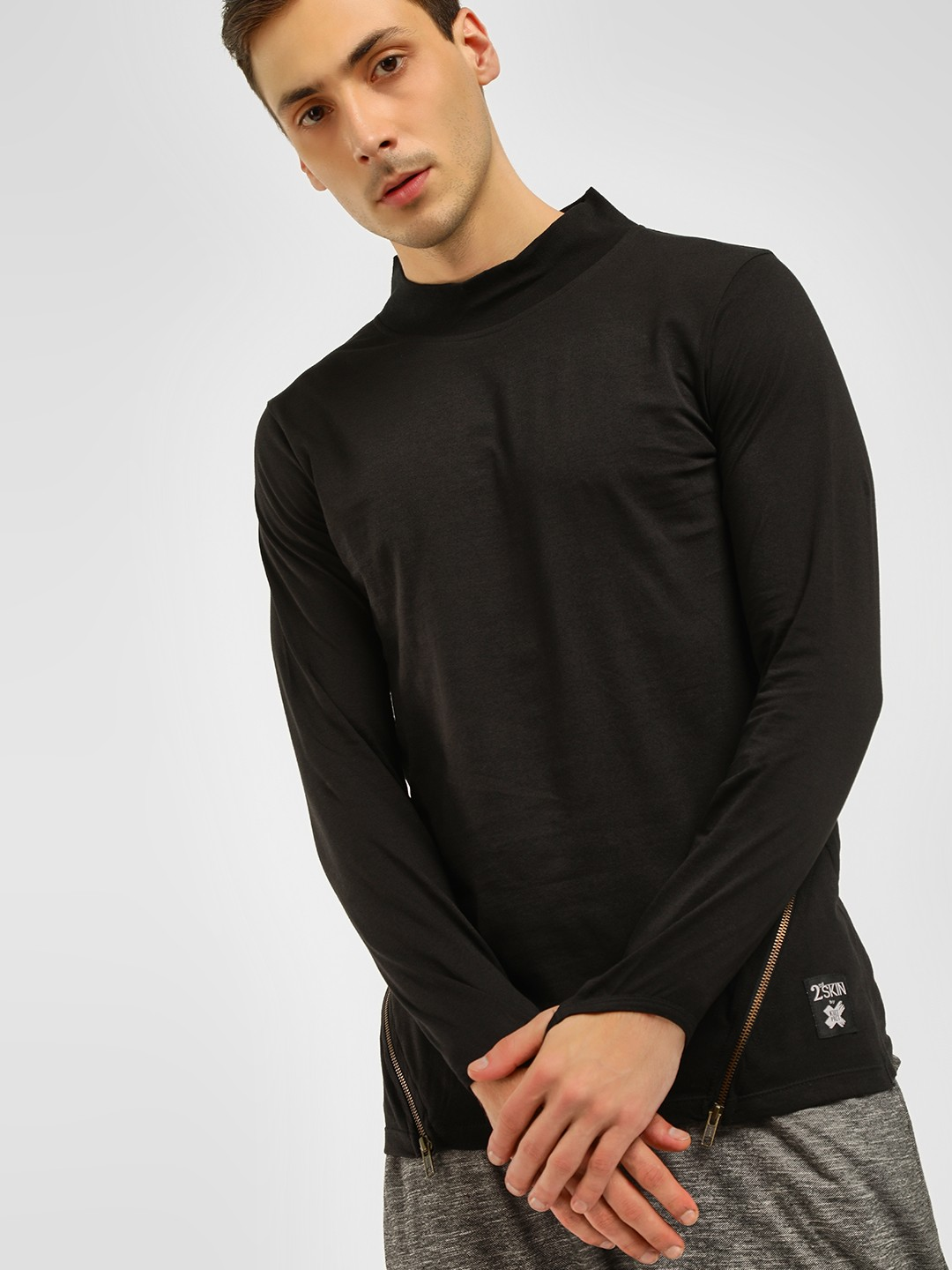 Kultprit Black Turtleneck Thumbhole Slim T-Shirt 1