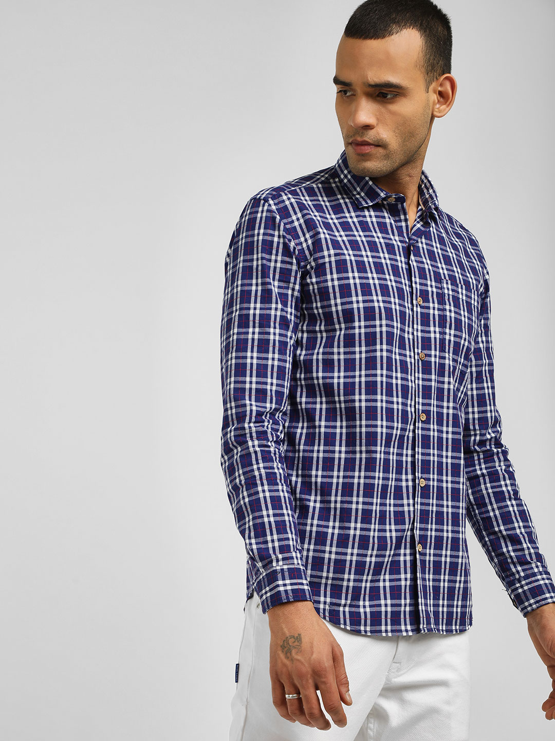 AMON Blue Casual Check Slim Fit Shirt 1
