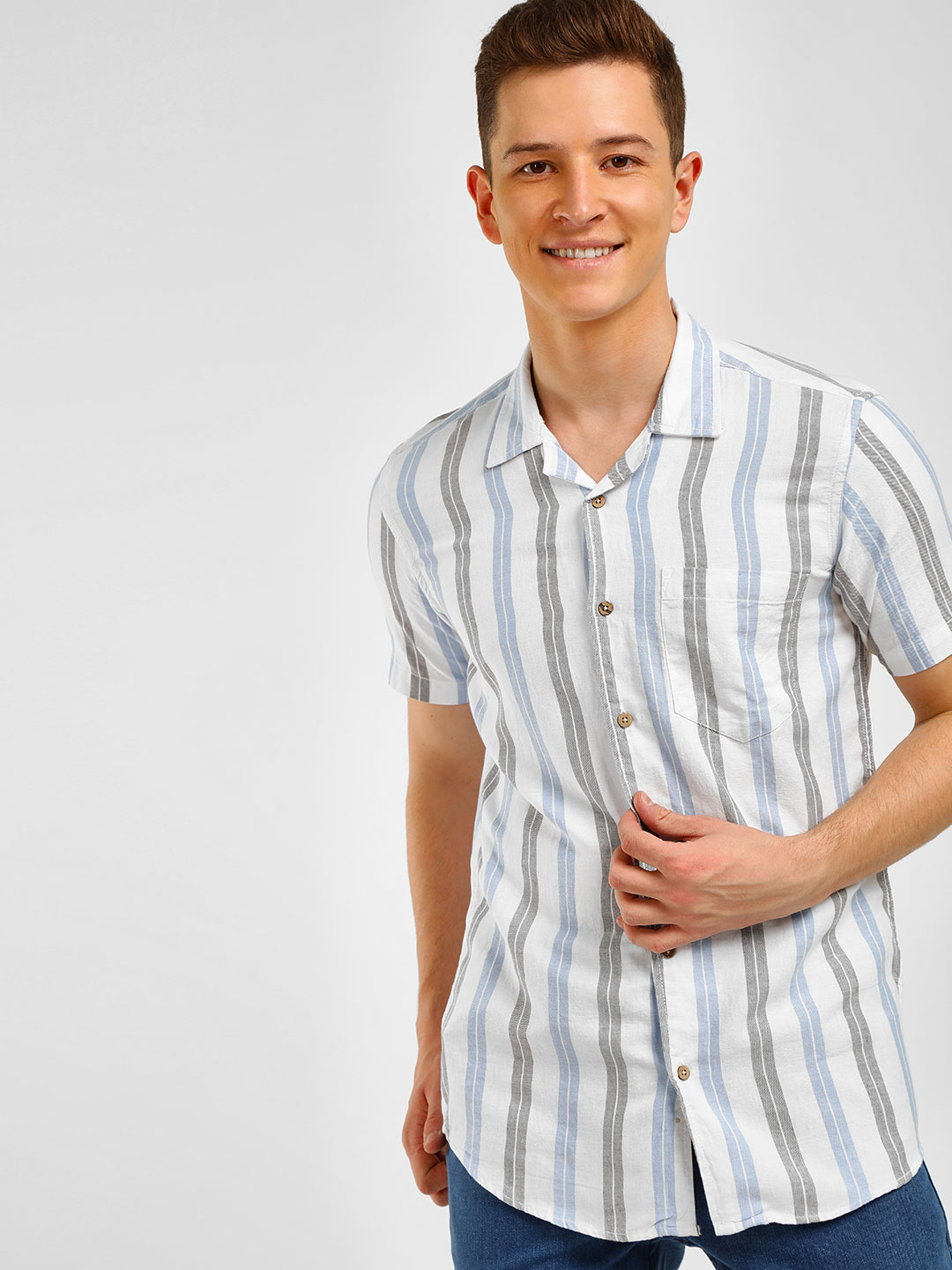 AMON Multi Vertical Striped Casual Shirt 1