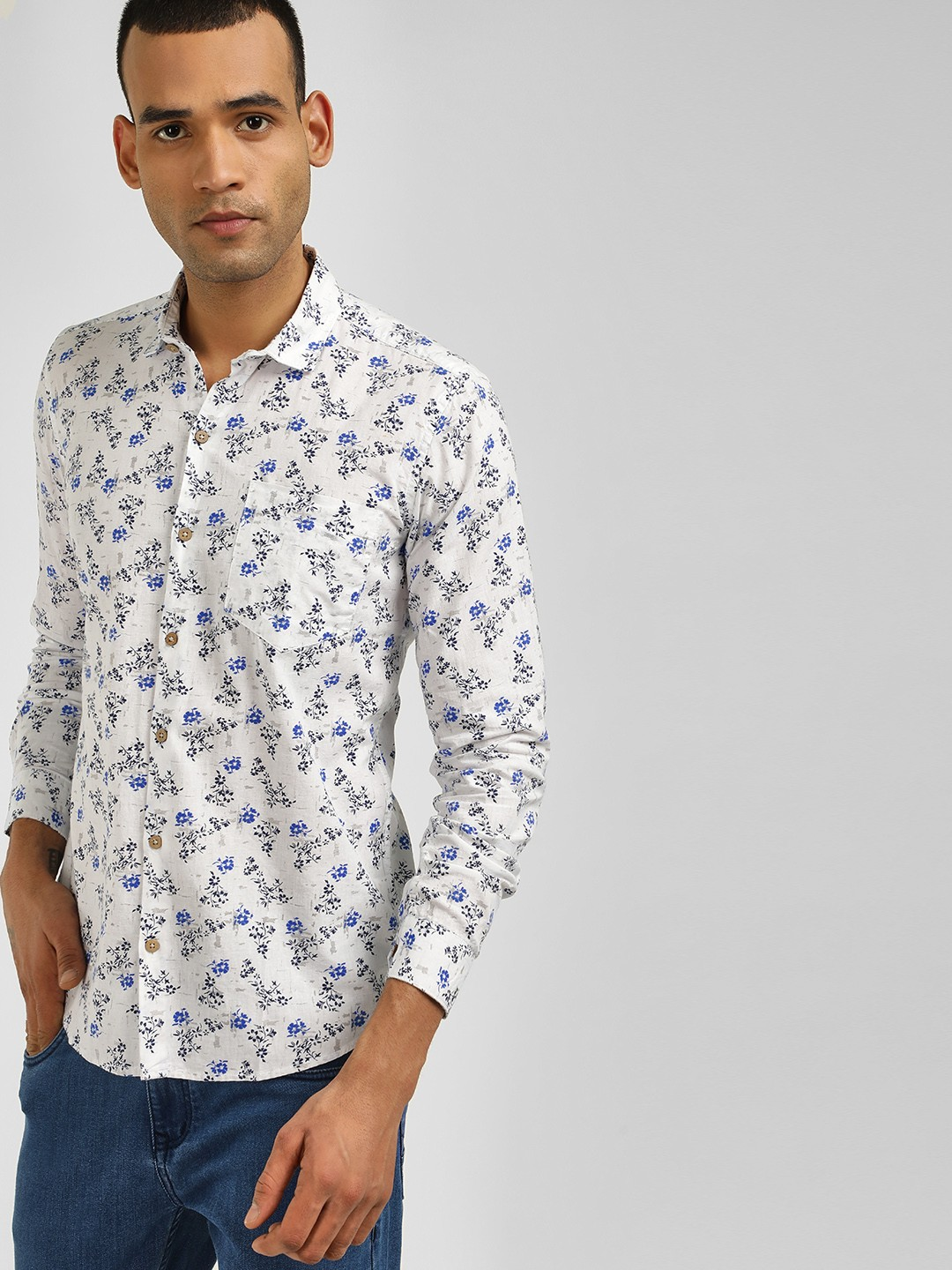 AMON White Casual Printed Shirt 1