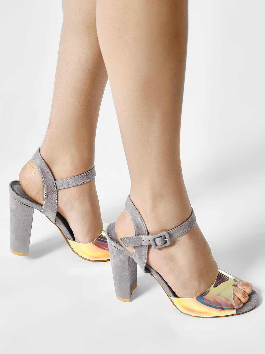Sole Story Grey Holographic Ankle Strap Heeled Sandals 1