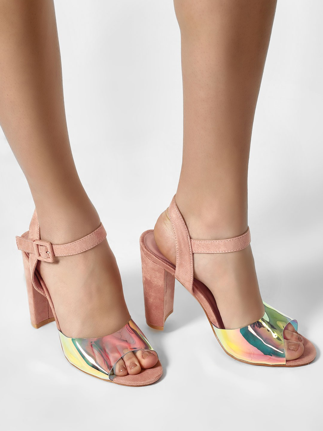 Sole Story Pink Holographic Ankle Strap Heeled Sandals 1