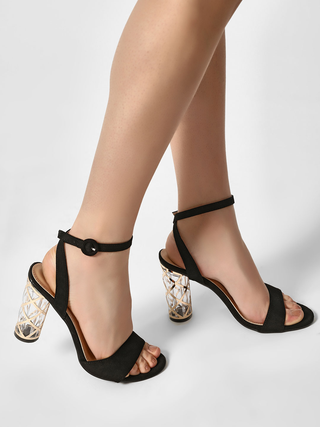 Sole Story Black Transparent Heel Ankle Strap Sandals 1