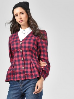 Cover Story Tie Knot Sleeve Checked Blouse