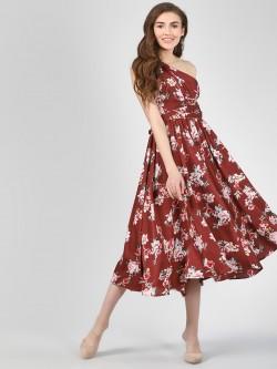 Cover Story Floral Print Maxi Dress With Asymmetric Shoulder